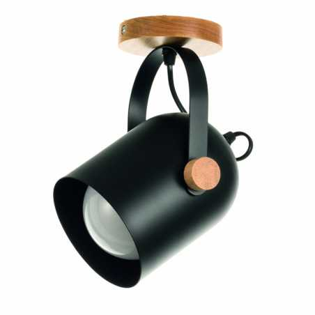 InLight Επιτοίχιο σποτ μαύρο μέταλλο και ξύλο E27 6133-1-BL