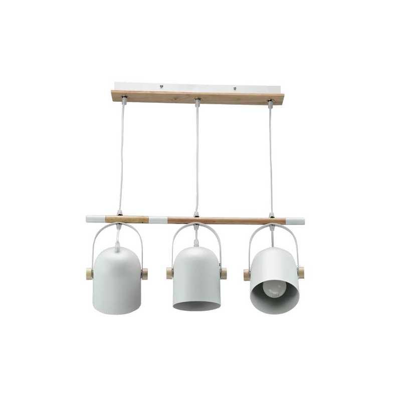 InLight Κρεμαστό φωτιστικό λευκό μέταλλο και ξύλο E27 6130-3-WH
